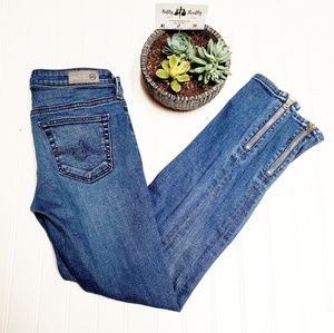 🎉AG Zip Up Ankle Skinny Light Denim Blue Jeans🎉